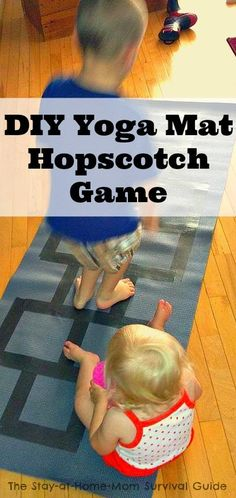 Being inside on bad weather days can be tough, but indoor gross motor activities like this DIY yoga mat hopscotch game can help kids burn energy and keep mom and kids free from indoor day frustration!