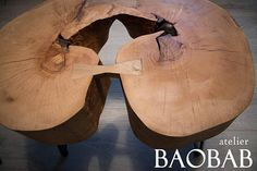 Handcrafted coffee table or bed side table made of natural