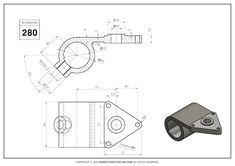 3D CAD EXERCISES 280 - STUDYCADCAM Mechanical Engineering Design, 3d Drawings, Drawing Practice, Autocad, Planer, Geometry, Exercises, Science, Cad Drawing