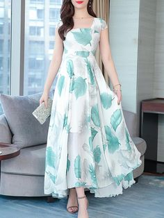 Boat Neck Asymmetric Hem Printed Maxi Dress , Buy Affordable And Fashionable Women's clothing Online. Buy Shoes, Bags, Dresses Etc. Modest Dresses, Stylish Dresses, Casual Dresses, Fashion Dresses, Maxi Dresses, Ladies Dresses, Modest Clothing, Women's Clothing, Beautiful Dress Designs