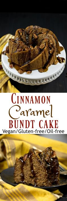 Easy 1 Bowl Vegan Gluten-Free Cinnamon Cake made with just 8 ingredients (+ salt) that is perfectly sweet, moist and topped with an incredible cinnamon caramel glaze! Warning, this cake is absolutely addictive, you will keep running back for another bite! via @thevegan8