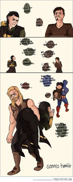 LOL oh gosh this is great XD Loki and Tony Stark arguing #lokifanart