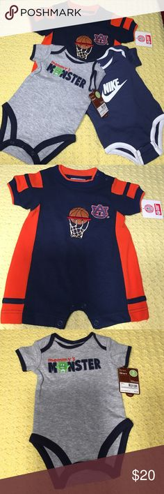 "Infant Onesie's Bundle Wonderful bundle of a Nike Onesie (0/3 Months) 100% Cotton, a Carters (3 Months) 100% Cotton ""Mommy's Monster"" Onesie and for the Sports Fan in You, you can dress your littlest Auburn University fan as he grows in only the best college wear! The 100% Polyester body suit (6/9 Months) is perfect for the little supporter in training for your team with the AU logo on the left side and Basketball Hoop! Train the Young!! Nike, Carters & Licensed College Wear One Pieces"