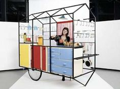 The Edit: Going Big with Small Mobile Retail Carts Under the direction of Bureau A, students of the Geneva University of Art and Design have completed a mobile exhibition set of modules – with a fully sized realization of the kitchen concept. Café Mobile, Mobile Kiosk, Mobile Shop, Kiosk Design, Booth Design, Retail Design, Ecole Design, Food Kiosk, Art Cart