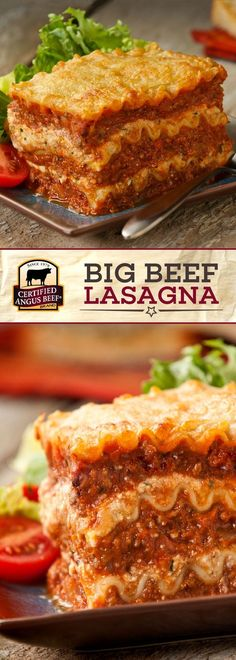 Certified Angus Beef®️️️️️️️ brand Big Beef Lasagna is the best CROWD-PLEASING lasagna! Gooey, delicious ricotta and parmesan CHEESE mixed with the best ground BEEF for the perfect hearty family meal.  #bestangusbeef #certifiedangusbeef #beefrecipe #dinnerrecipes #comfortfood