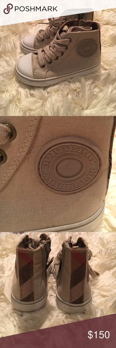 Burberry unisex kids sneakers Tan unisex kids sneakers. Has laces and a zip on the side Burberry Shoes Sneakers