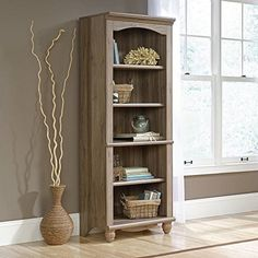 This Sauder Harbor View Library in Salt Oak will become the centerpiece of your living space. With a salt oak finish, this library refreshes your decor wit 5 Shelf Bookcase, Etagere Bookcase, Wood Shelves, Bookcases, Sauder Bookcase, Sauder Woodworking, Harbor View, Nebraska Furniture Mart, Home Office Furniture