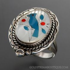 Native American Mother Of Pearl Coral Turquoise & Jet Inlay Blue Jay B – Gold Stream Boutique