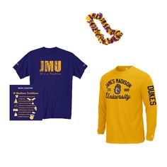 """It's time for Homecoming 2012 JMU fans, a top tradition of the purple & gold faithful!  Show off your true Duke spirit this Saturday by layering a purple """"JMU Tradition"""" t-shirt over a gold JMU Dukes long-sleeve shirt.  The JMU Bookstore has the perfect combination to keep you warm in the fall air while still letting you show your love for your school!"""