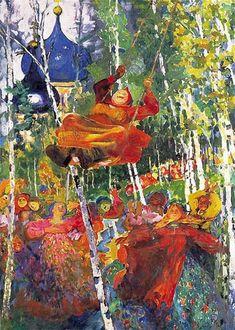 Baba en un columpio (Баба на качелях, Filipp Andreevich Malyavin (Филипп Андреевич Малявин. Kandinsky, Figure Painting, Painting & Drawing, Ilya Repin, Chaim Soutine, Paint Icon, Russian Art, Russian Culture, Russian Painting