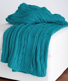 Look at this #zulilyfind! Turquoise Cable-Knit Throw Blanket #zulilyfinds