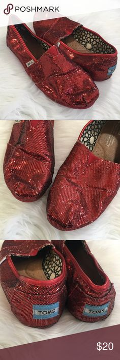 TOMS Red Sparkle Shoes Red TOMS Sparky shoes. In very good condition.   ⭐️10% off 2+ bundle  ⭐️Size 8 ⭐️No stains or flaws Toms Shoes Flats & Loafers
