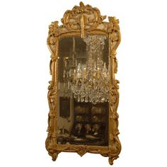 Large Transitional Parcel-Gilt & Cream-painted Mirror, c. 1760