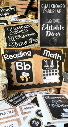 Easy to customize! Editable Chalkboard & Burlap decor pack for any grade level. Give your classroom a shabby chic makeover with just a few clicks!