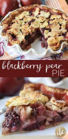 This Blackberry Pear Pie is the perfect summer meets fall dessert recipe blackberry pie pie dessert fallbaking recipe via inspiredbycharm Mini Desserts, Pear Dessert Recipes, Pear Recipes, Fall Desserts, Baking Recipes, Delicious Desserts, Easter Desserts, Plated Desserts, Yummy Recipes