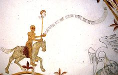 """Death rules! Death """"on a pale horse"""" brandishing a man's head on the end of a ?spear. His banderole reads (in German) ICH BEING DER DOT UND WALT ICH [I am Death and I rule]. Detail of the mural decoration in the church of Bregninge Holbaek, Denmark, painted c.1400"""