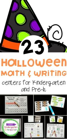 These Pre-K and Kindergarten Math and Literacy Centers for Halloween are filled with engaging math and literacy learning activities that your students will love working on. There are 9 literacy centers (some with multiple levels and versions) and 14 math centers (some with multiple versions). So many activities that are so fun and different! A great Halloween learning activity! #learningactivities #kindergarten #prek #preschool #halloweenactivities