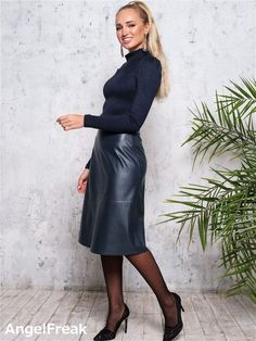 Leather Dresses, Leather Skirt, Leather Outfits, Wedding Wear, Her Style, Work Wear, Church Office, Dress Up, Pencil Skirts