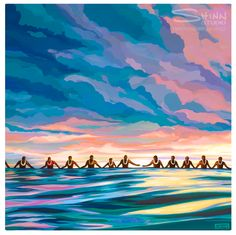 Completing the Circle by Shinn Studio.This painting was inspired by the paddle out ceremony in honour of Eddie Aikau at Waimea Bay every year. This is a time to honour, not only Eddie, but all the surfers who have passed on.