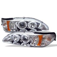 Ford Mustang Osram LED Dual Halo DRL Daytimg Running Lights Front Projector Headlights Headlamps Replacements Both Driver Passenger Sides Left Right Pair Set w/ Low Beam 9005 High Beam Bulbs 1995 1996 1997 94 95 96 97 98 Chrome Projector Headlights, Car Headlights, Led Projector, Mustang Accessories, Aftermarket Headlights, Car Ford, Auto Ford, Led Tail Lights