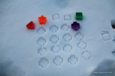 in the snow! Use shape sorter shapes/cookie cutters. Bring toddler toys outside for interest and fun! Snow Activities, Winter Activities For Kids, Kindergarten Activities, Toddler Activities, Preschool Winter, Writing Activities, Preschool Ideas, Outdoor Activities, Learning Shapes