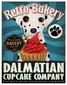 Dalmatian Cupcake Company Original Art Print - Custom Dog Breed Art - 11x14 - Personalize with Your Dog's Name - Dogs Incorporated