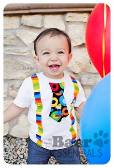 Items similar to Bright Circus Birthday Tie and Suspenders Applique Onesie or T-Shirt for Baby Boys - Birthday - Dr. Seuss Birthday on Etsy Owl Birthday Parties, Baby Boy 1st Birthday, Circus Birthday, Circus Theme, Mickey Mouse Birthday, Circus Party, 1st Boy Birthday, Birthday Shirts, Birthday Ideas