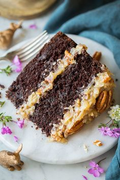 A classic cake that is sure to please chocolate and coconut lovers! Rich chocolate cake topped with a sweet coconut pecan topping.