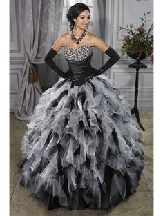 Black and White Ball Gown Gothic Wedding Dress.. strangely I am in LOVE with this dress. Maybe I should do a Black and White theme.
