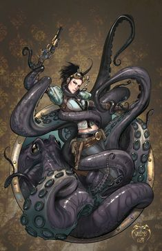 Lady Mechanika octopus attack | Pencils by ~joebenitez on deviantART joebenitez.deviantart.com ~ ink finishes by Joe Weems V and colors by Nei