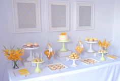 """Photo 6 of Yellow with white and grey / Tea Party """"You Are My Sunshine"""" Sunshine Birthday Parties, First Birthday Parties, Birthday Ideas, Baby Party, Tea Party, Yellow Desserts, Lolly Buffet, Sunshine Baby Showers, Wine Parties"""