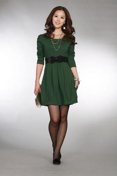 OL A-LINE DRESS  3/4 sleeve - with Belt  Colours: Maroon, Green, Red and Black  Materials: Polyester