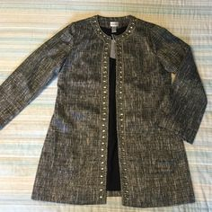 NWT Chico's Bejeweled Tweed Jacket Black and white tweed jacket with jeweled detailing.  Long-sleeved with two pockets on the front.  Hook closures on inside of jacket, can also be worn open!  Chico's, new with tags, size 1. Chico's Jackets & Coats