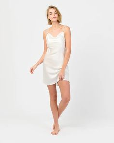Available in multiple colours, our night dress is as stylish as it is effortless. Luxuriously soft and lightweight, this piece will make the perfect addition to your sleepwear. Night Dress For Women, Sleepwear Sets, Mulberry Silk, Pearl White, Nightwear, The Dreamers, Pure Products, Stylish, Cowl Neck
