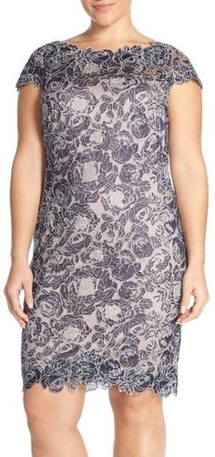 Tadashi Shoji Rose Embroidered Lace Sheath Dress (Plus Size)