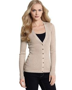 ribbed shimmer cardigan from White House Black Market