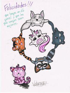 Cumpleaños de Carol: David como la pantera negra, Laura como el tigre, Fer como el mapache, Silvia como el lobo, Carol como el unicornio y yo como el gato de Cheshire^^