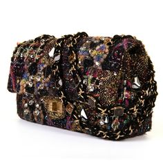A Very Rare Chanel 'Sac 2.55' Multicoloured Tweed  & Bejewelled Flap Bag   From a collection of rare vintage shoulder bags at https://www.1stdibs.com/fashion/handbags-purses-bags/shoulder-bags/
