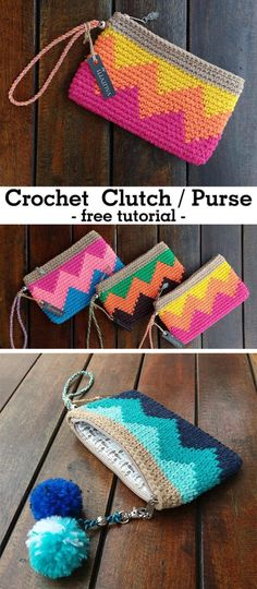 Learn how to crochet this clutch.Learn how to crochet this clutch.Learn how to crochet this clutch. Crochet Pouch, Crochet Diy, Crochet Gifts, Learn To Crochet, Crochet Bags, Crochet Clutch Pattern, Crochet Clutch Bags, Clutch Purse, Tapestry Crochet Patterns