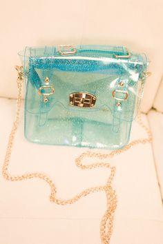 Transparent glittering satchel