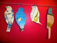 bird garland i made out of old story book pages.