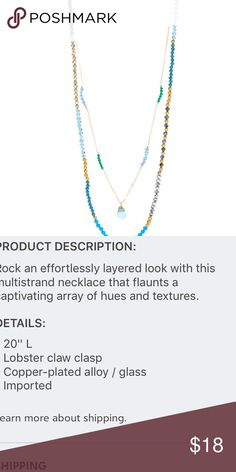 baeb32d46073f Blue Crystal Multi-strand Pendant Necklace Details are in the second  picture for the love