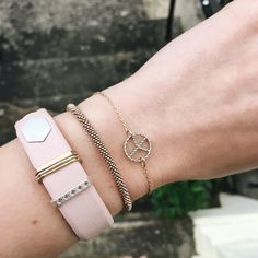 Model wearing Fitbit Alta with Classic Stack Accessory - gold