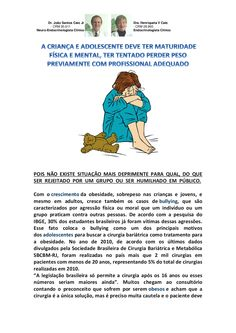 A CRIANÇA E ADOLESCENTE DEVE TER MATURIDADE FÍSICA E MENTAL, TER TENTADO PERDER PESO PREVIAMENTE COM PROFISSIONAL ADEQUADO by VAN DER HAAGEN via slideshare
