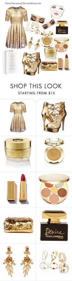 """Golden Dress Contest"" by kitty-cat130 ❤ liked on Polyvore featuring Matthew Williamson, GUESS, Oribe, Milani, tarte, Deux Lux, Dolce&Gabbana, Cushnie Et Ochs and Oscar de la Renta"