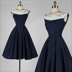 vintage 1950s dress . navy blue . polka dot by millstreetvintage, $225.00