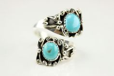 Native American Navajo .925 Sterling Silver Turquoise Adjustable Ring Size 9.5