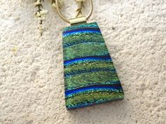 Green & Blue Necklace, Dichroic Glass Jewelry, Dichroic Necklace, Fused Glass Jewelry, Glass Pendant, Gold Necklace Included 082715p104 by ccvalenzo on Etsy