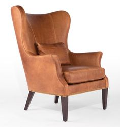 Clinton Modern Wingback Chair Leather, Saddle - Stocked D4545