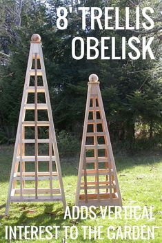 This 8' obelisk is made of solid western red cedar & offers excellent plant support & protection. It's ideal for climbers such as clematis, roses, wisteria, kiwi & sweet pea. What's amazing to me is that once assembled, this obelisk will easily support 800 lbs + of plant vegetation! Now, that's what I call sturdy! #ad #garden #gardening #gardenobelisk #vines #trellis